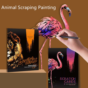 21*29cm 4PC Animal Night Scene Scratch Paintings Card Lion Wolf Cat Kids decompression Handmade DIY Gifts Creative Drawing Toys