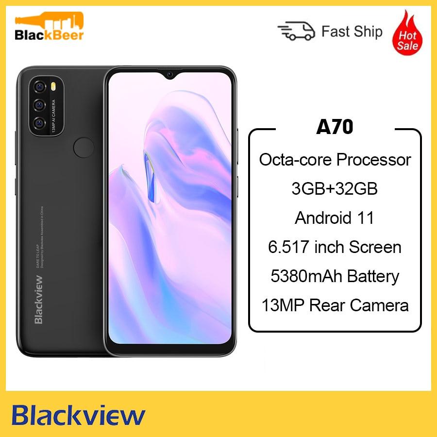 Blackview A70 Android 11 мобильный телефон 6,517 дюймов экран восьмиядерный смартфон 3 ГБ ОЗУ 32 Гб ПЗУ мобильный телефон 5380 мАч 13мп камера заднего вида