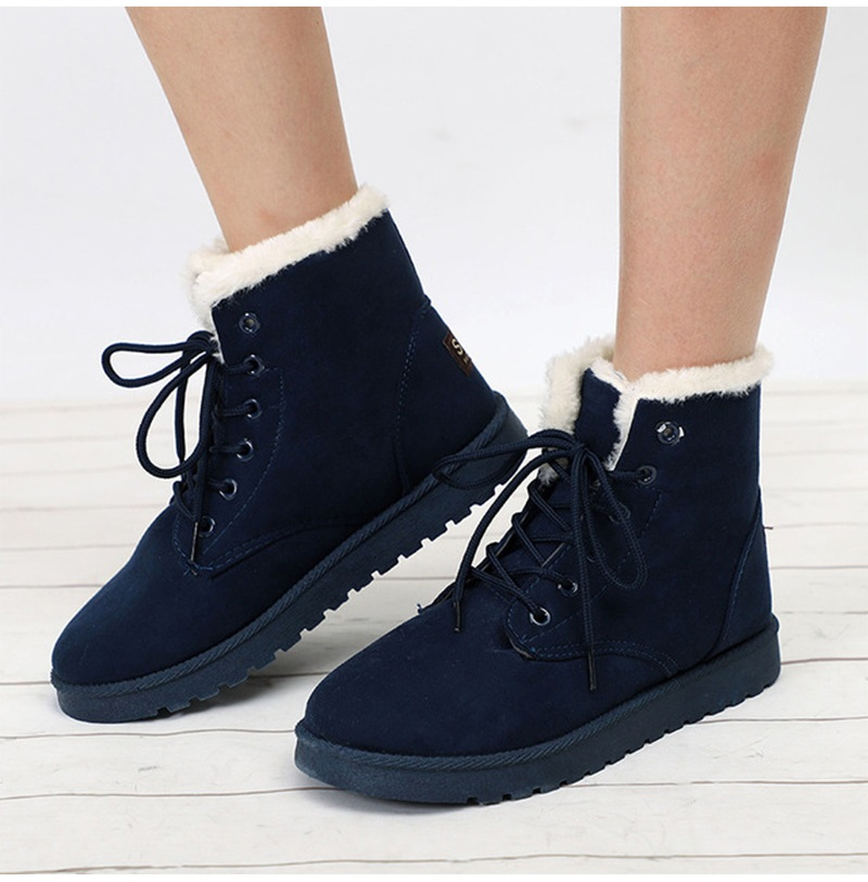 Women Flock Fur Flat Lace Up Winter Snow Suede Ankle Boots Female 47
