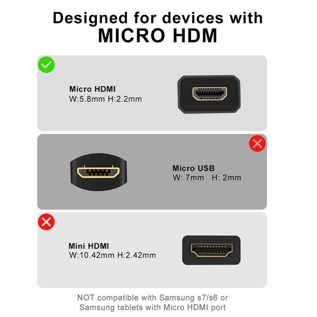 Micro HDMI Male to HDMI Female Cable Micro HDMI Adapter HD4K Connector Converter for HDTV Projector Flat Camera GoPro Micro HDMI 3