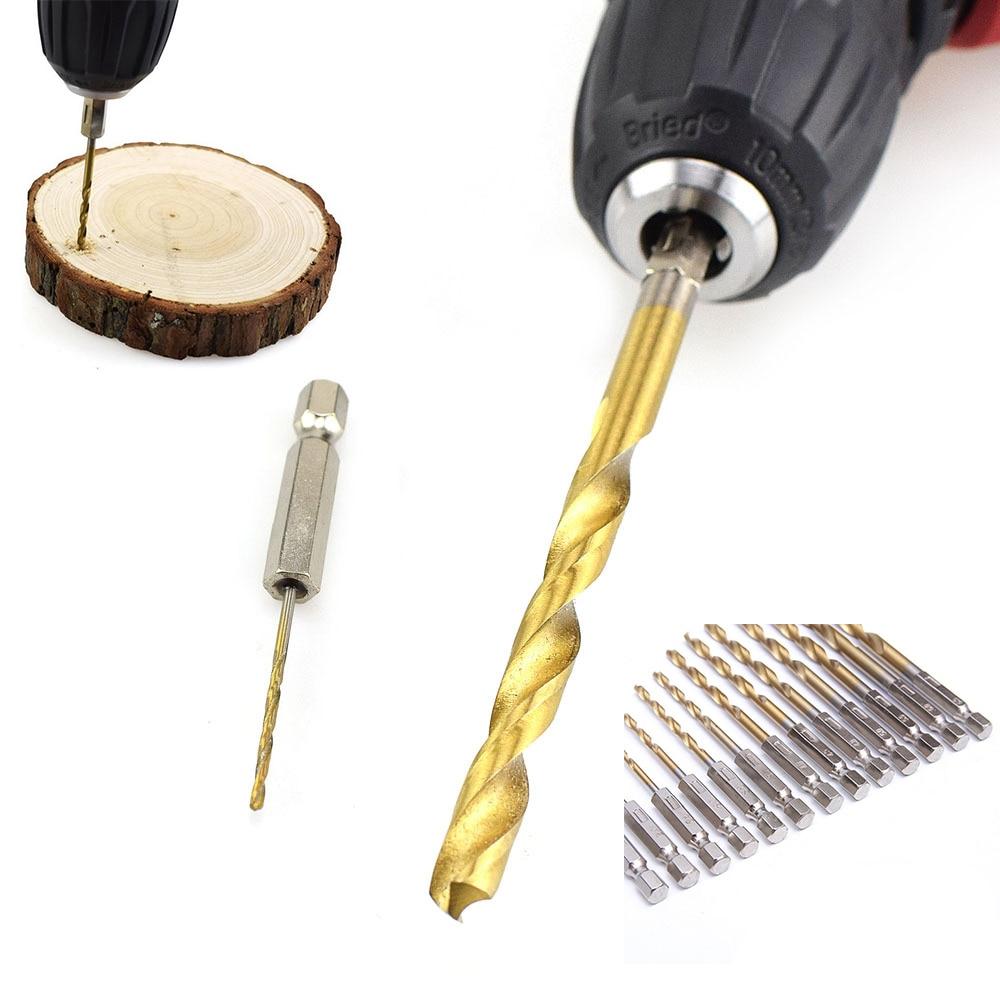 13pcs/set Titanium Drill Bit Set 1/4 Inch Hex Shank Twist Bits Multifunction Tools Electric Screwdriver Drill Wind Bit New