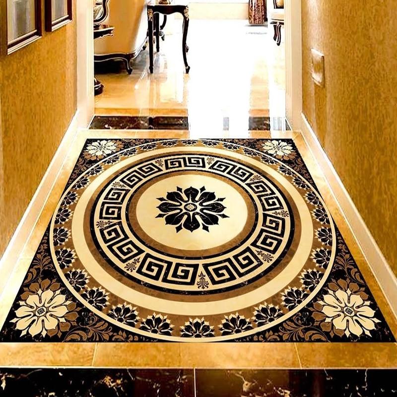 Custom European Style Marble Floor Sticker Mural Living Room Bedroom Corridor Floor Waterproof Self-adhesive PVC Vinyl Wallpaper