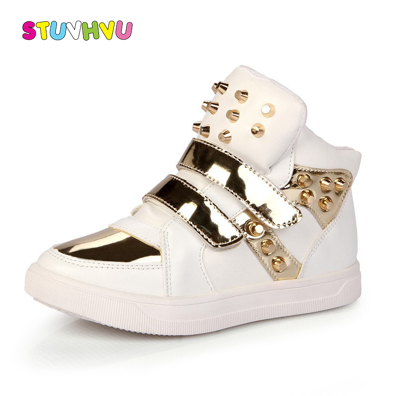 Boys Sports Shoes Fashion Casual Leather Girls Rivets Shoes High-top Kids Sneakers Comfortable Slip Children's Shoes White Black