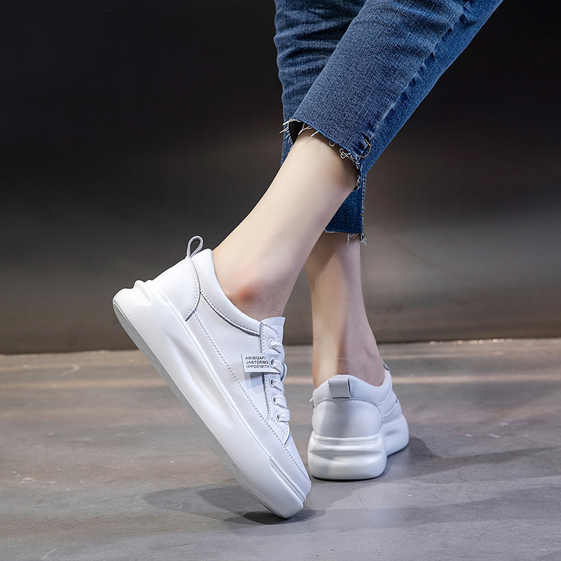 SWYIVY Genuine Leather Casual Shoes Women Sneakers 2019 Autumn Light White Sneakers Platform Med Heel Ladies