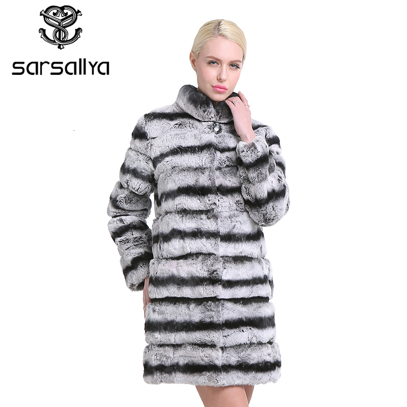 SARSALLYA  New Fashion Rex Rabbit Coat Mandarin Collar Long Sleeve Thick Warm Fur Winter Women Real Fur Coat Winter Jacket Women