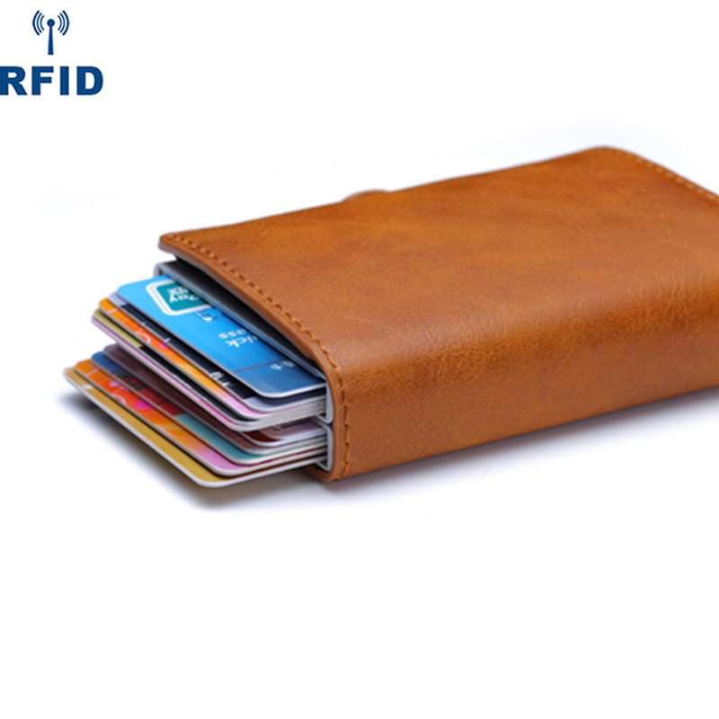 2020 Pu Leather Double Metal ID Credit Card Holder With RFID Vintage Card Case Automatic Money Cash Clip Mini Wallet Business