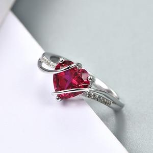 Image 3 - A Forma di cuore Rubino 925 Sterling Silver Anello di 2.5 Carati Donne Anello di Amore per il Partito di Fidanzamento e di Nozze Regalo Romantico