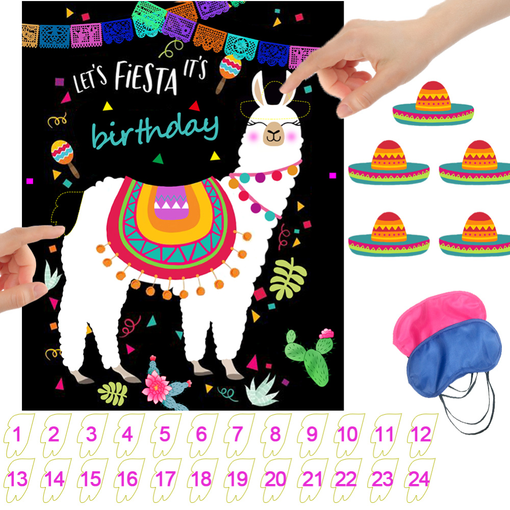Baby Shower Game Pin The Tail on The Alpaca Llama Game Cartoon Animal Mexican Birthday Decorations Kids Favors Party Supplies image