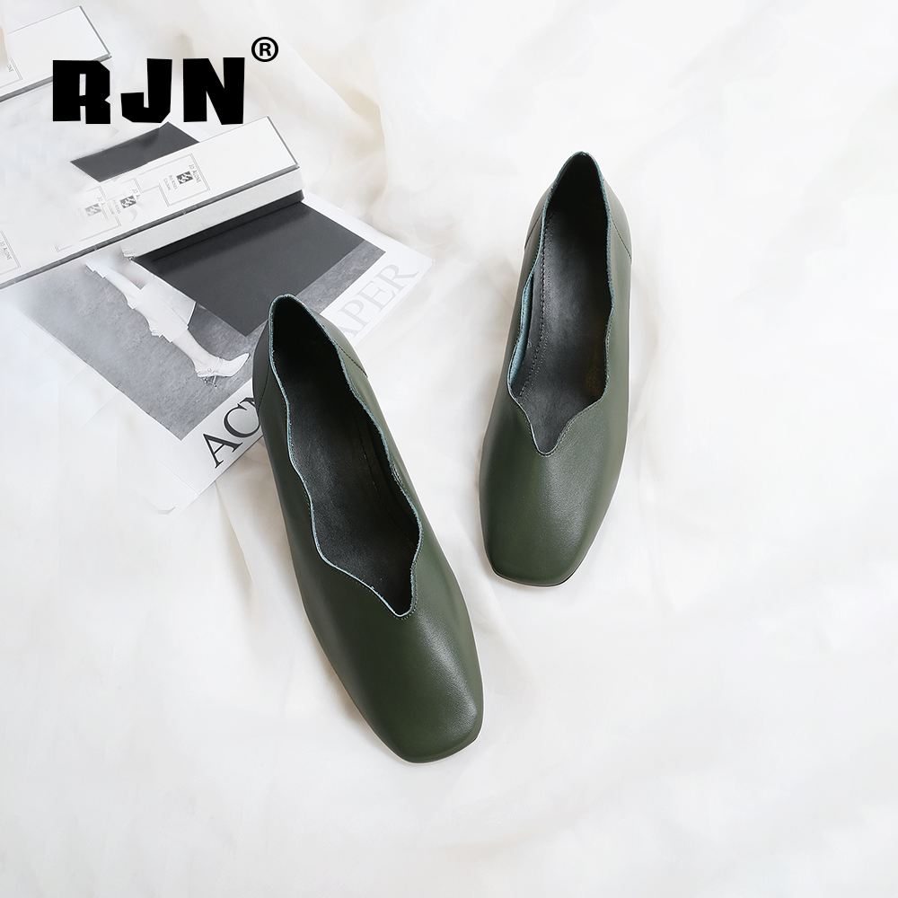 Hot Sale RJN Elegant Shallow Women Pumps Flower Lace Ribbon Decoration Comfortable Square Toe Med Heel Genuine Leather Slip-On Shoes RO42