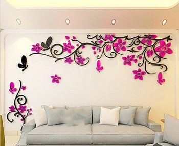 DIY Removable Vinyl Flower Wall Sticker Modern Decals For Wall Decor TV Background Decoration Mural Wallpaper For Living Room 17