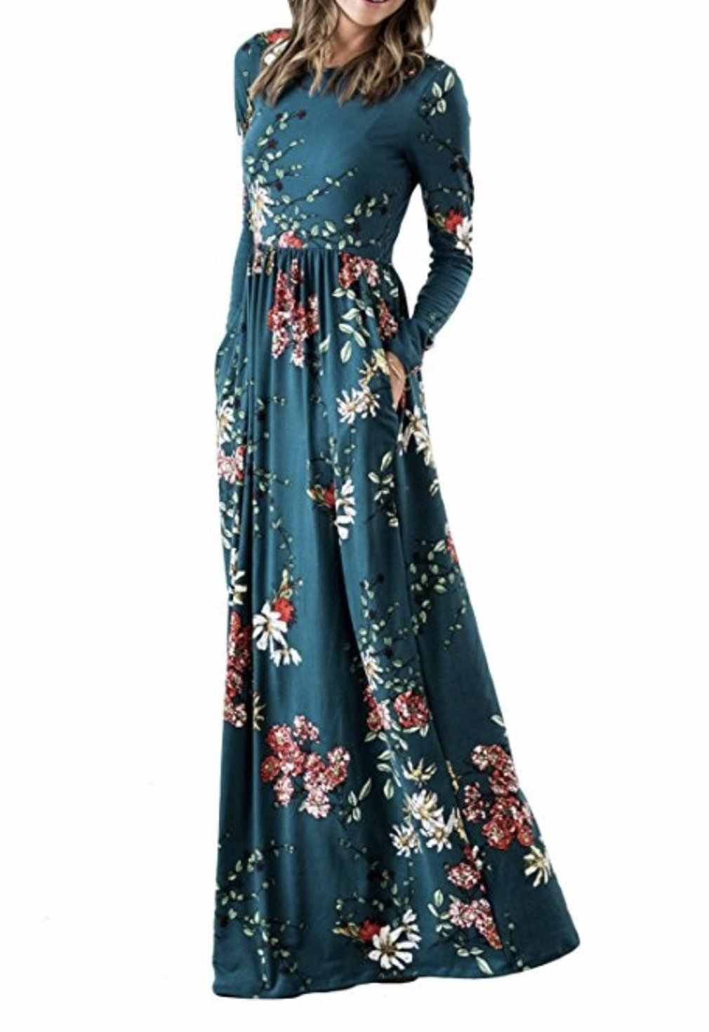 Women/'s Beach Floral Printed Long Sleeve Empire Waist Maxi Dresses with Pockets