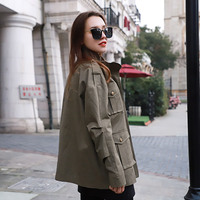 Pure Cotton Tooling Jacket Casual Jacket Women's Workwear Coat Women's 2019 New Style Spring Army Green Women Jacket