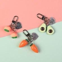 Брелок для ключей с изображением авокадо меда персика моркови
