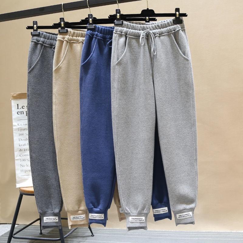 New Arrival Korea Fashion Autumn Women Harem Pants All-matched Casual Sport Pants Female Loose White Black Pants Plus Size D439