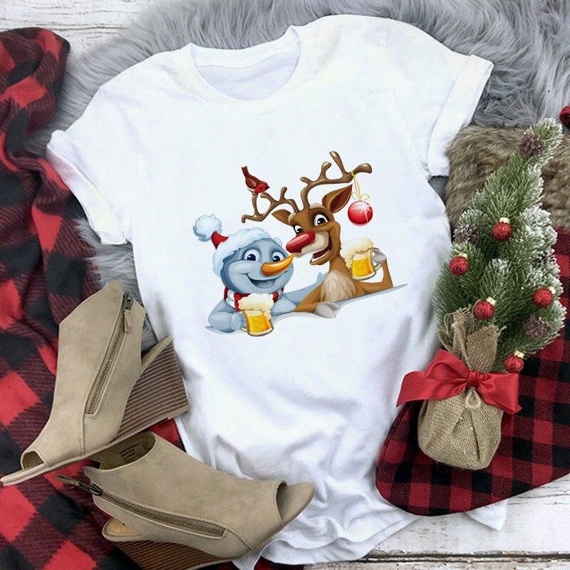 Merry Christmas Clothes Harajuku Women T-shirt Vogue Kawaii Reindeer Santa Claus Print Tshirts White Casual Tee Femme Clothing 1
