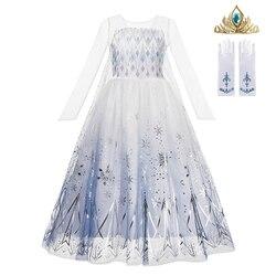 Schnee Königin 2 Weiß Mädchen Anna Elsa Kleid Halloween Kostüm Kind Weihnachten Kinder Kleider Infant Chrismas Kinder Urlaub Kleid
