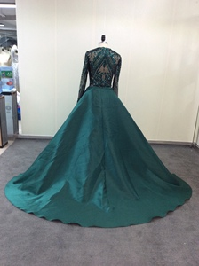 Image 4 - Green Sparkly Sequin Evening Dresses Long  2020 Mermaid Full Sleeves Detachable Train Saudi Arabic Women Formal Party Prom Gown