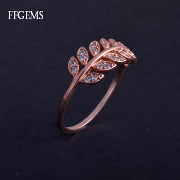 FFGems Elegant Real 10K Rose Gold Diamond Ring 417Au Fine Jewelry For Women Lady Engagement Wedding Party Gift image