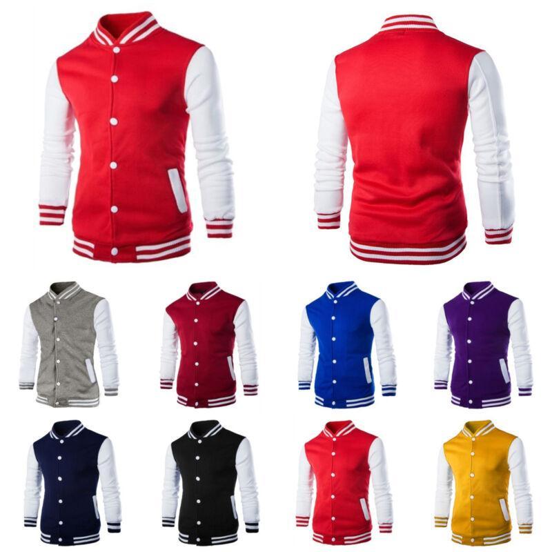 Fashion Mens Varsity Jacket College University Baseball Coat Outfits