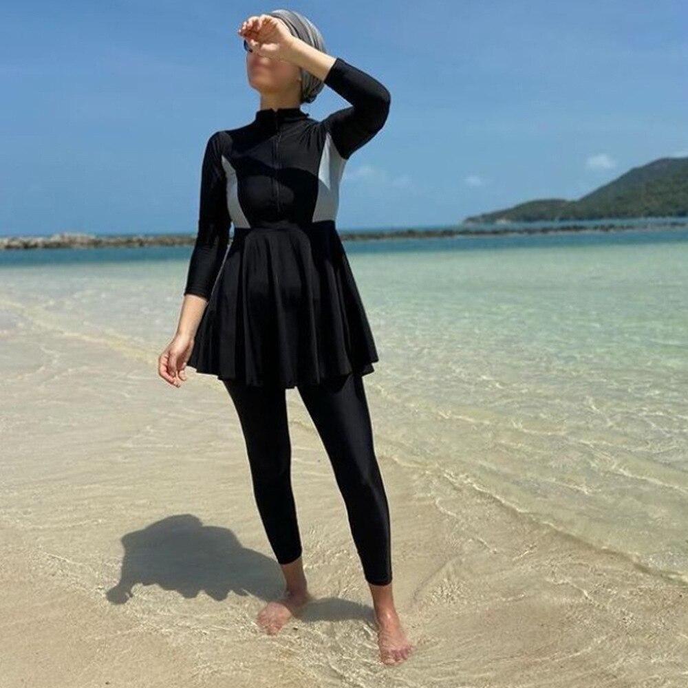Пэй-фу 2021 мусульманский купальный костюм Для женщин скромные лоскутное хиджаб одежда с длинным рукавом спортивный купальник 3 шт. исламский...
