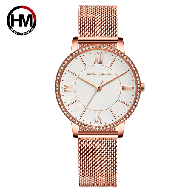 Relojes de pulsera con diamantes de imitación para mujer, de cuarzo japonés, informal, femenino