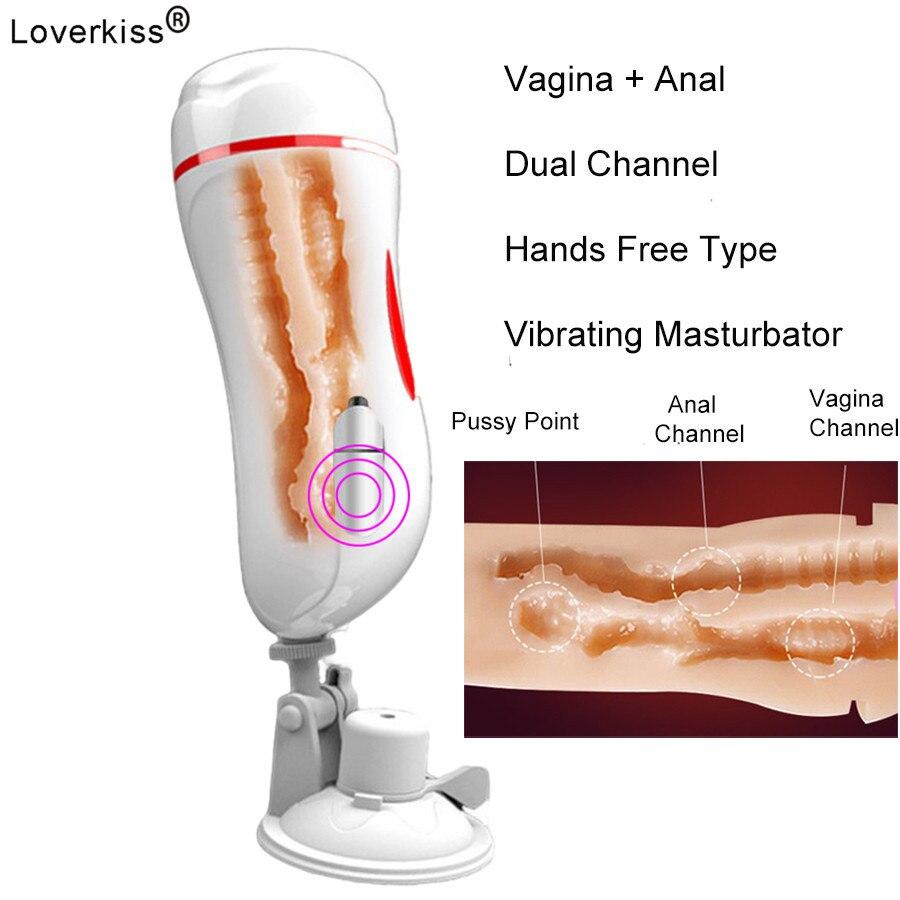 Dual Channel Vagina Anal Copo Masturbação Vagina Real Buceta Penis Bomba Boquete Mastrubator Vibrador do Sexo Masculino para o Homem Sexo Brinquedos Eróticos