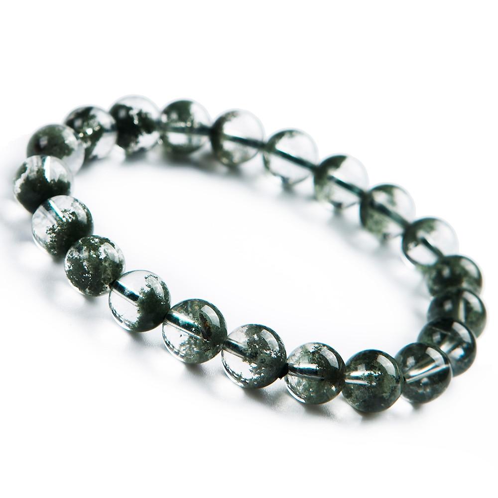 9mm véritable naturel vert fantôme Quartz fantôme cristal Bracelet clair perles rondes extensible femmes hommes bijoux AAAAA