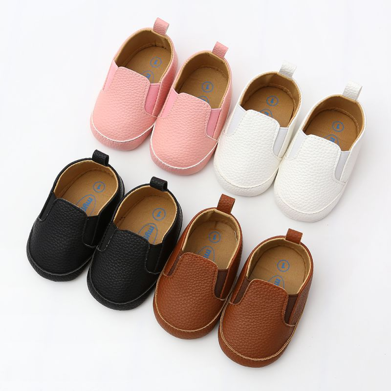 Baby Shoes Footwears Moccasin Prewalkers-Boots Newborn Infant Black Pu  title=