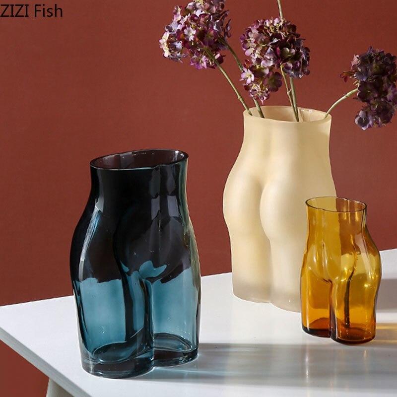 Прозрачные стеклянные вазы для тела, статуя, украшение для стола, украшения для цветов, Расписанная глазурованная ваза, современное домашнее украшение|Вазы|   | АлиЭкспресс - Декор