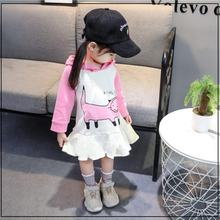 Herfst Kinderen Meisjes Outfits Lange Mouw Kap Jurk Cartoon Kat Prinses Jurk Fashion Casual Dress Voor Party Beach(China)