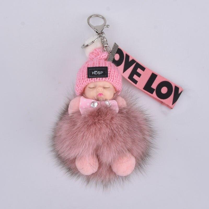Baby Fox fur Ball Doll Keychain Sleeping Baby Foot and Hand Doll Pompom Fox fur Key Chain Car Keyring Key Holder Charm Jewelry(China)