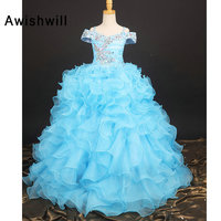Blue Party Dress for Kids Girl Spaghetti Strap Beaded Ruffles Organza Flower Girl Dress for Weddings Girls Pageant Ball Gown