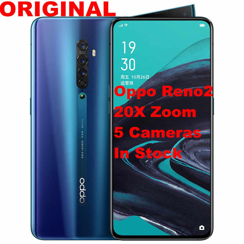 "Stock Original Oppo Reno 2 20x zoom téléphone intelligent Android Snapdragon 730 6.5 ""2400X1080 8G RAM 128G ROM 48.0MP Reno2 prise en charge NFC"