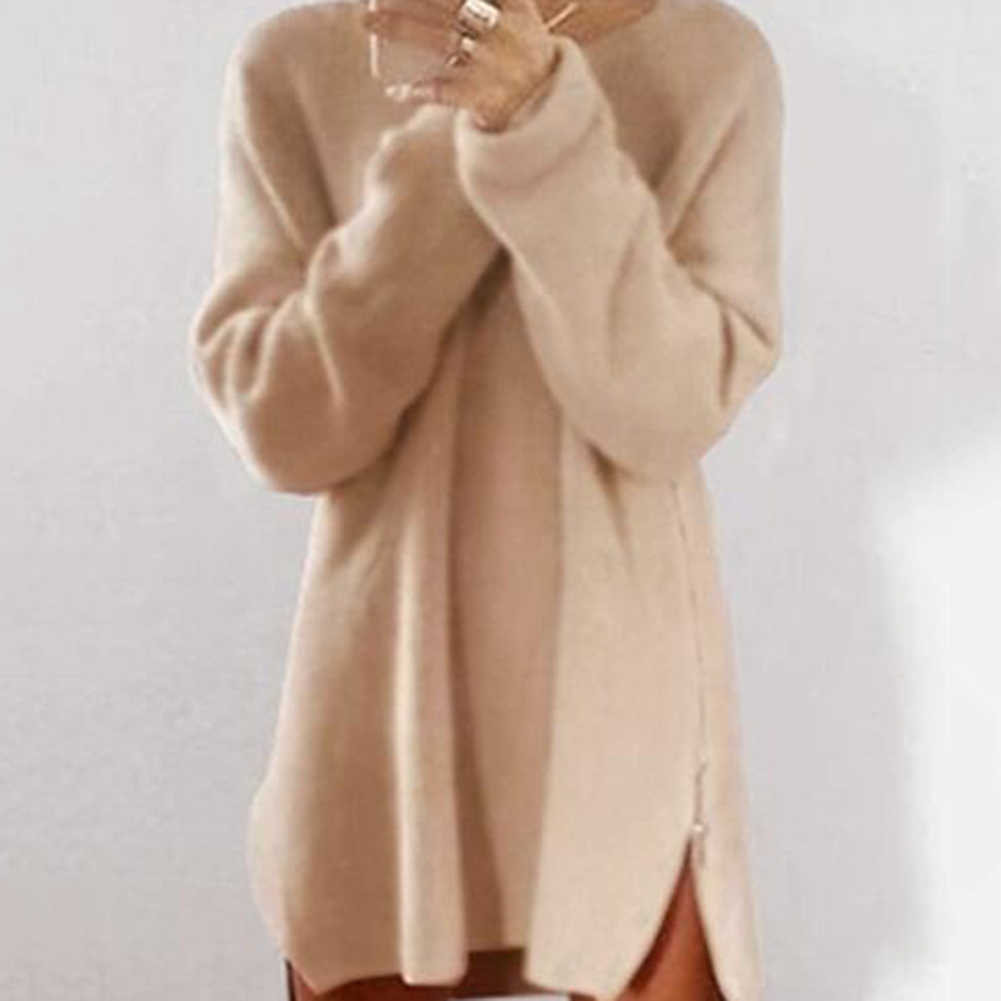 2019 여성 섹시 솔리드 컬러 긴 소매 o 넥 사이드 웨이 지퍼 느슨한 미니 스웨터 드레스 여성 친구를위한 크리스마스 선물