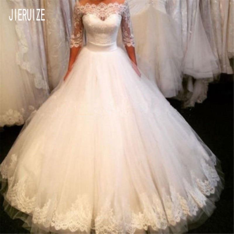 JIERUIZE Vestido De noiva New Elegant Wedding Dresses Boat Neck Half Sleeves Appliques Wedding Gowns Lace Up Back Bride Dresses