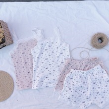 3284 Spring And Summer New Children's Baby Home Clothes Set Vest Lace Suspender Shorts Pajama Set Flowers Printed Girl's Suit