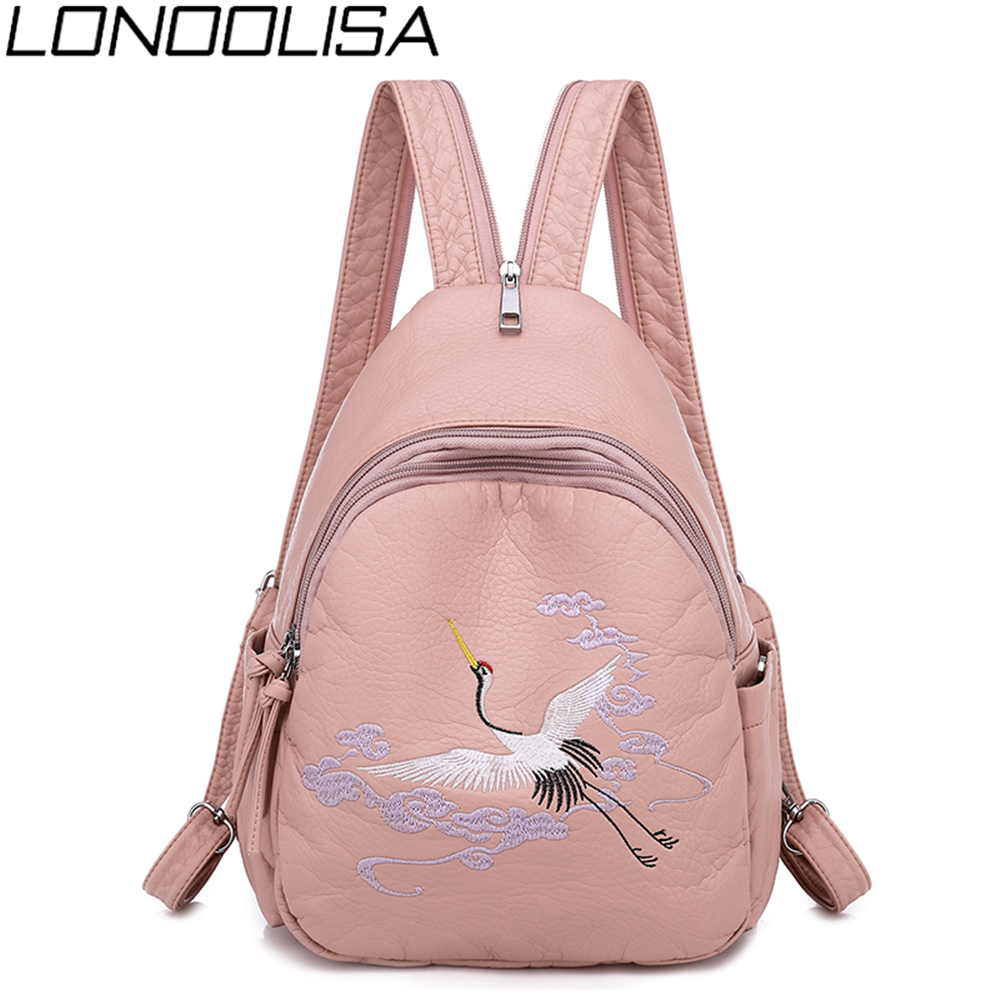 Fashion 2-in-1 Women Backpack Lady Chest Bag With Lovely Rabbit  Embroidery Soft Pu Leather Large Capacity Chinese Style Mochila