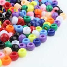 100pcs/lot 6*9mm Mixed Candy Color Acrylic Beads Large Hole Loose Spacer for Jewelry Making DIY Bracelet Frendship Gift