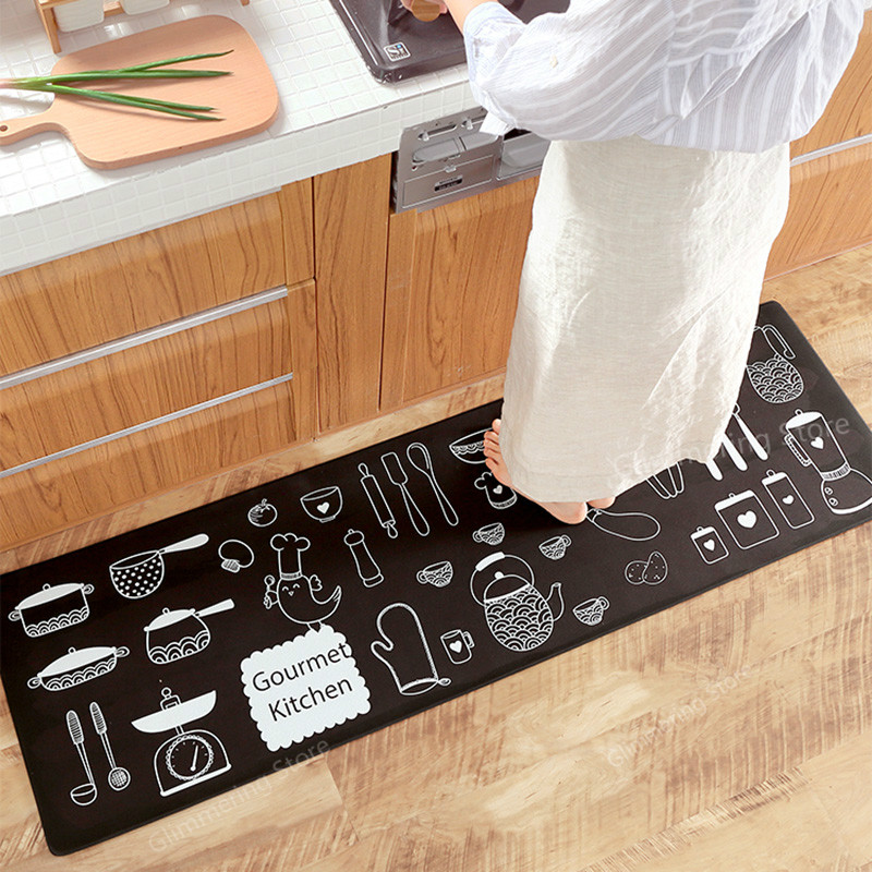 XM Japanese Kitchen Mat Waterproof Oilproof Kitchen <font><b>Rug</b></font> PVC <font><b>Leather</b></font> Anti-fatigue Kitchen Carpet Non-slip Wear-resistant image