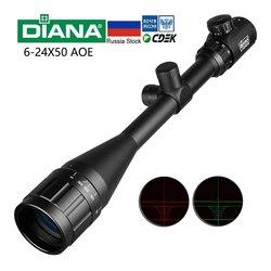 6-24x50 AOE Rifle óptico alcance largo Ojo de alivio Rifle de alcance para francotirador Gear miras de caza para Rifle de Airsoft