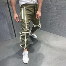 Streetwear new 2019 mens clothing casual jogger reflective pants fashion trousers brand fitness