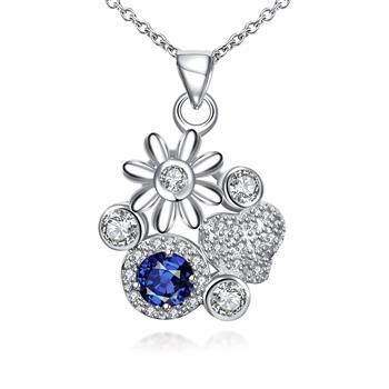 Fashion Silver Floral Flower Royal Blue Necklace Pendant Crystal Necklaces Stone 2021 Jewelry Gift Bulk Items Wholesale SPN095-A image