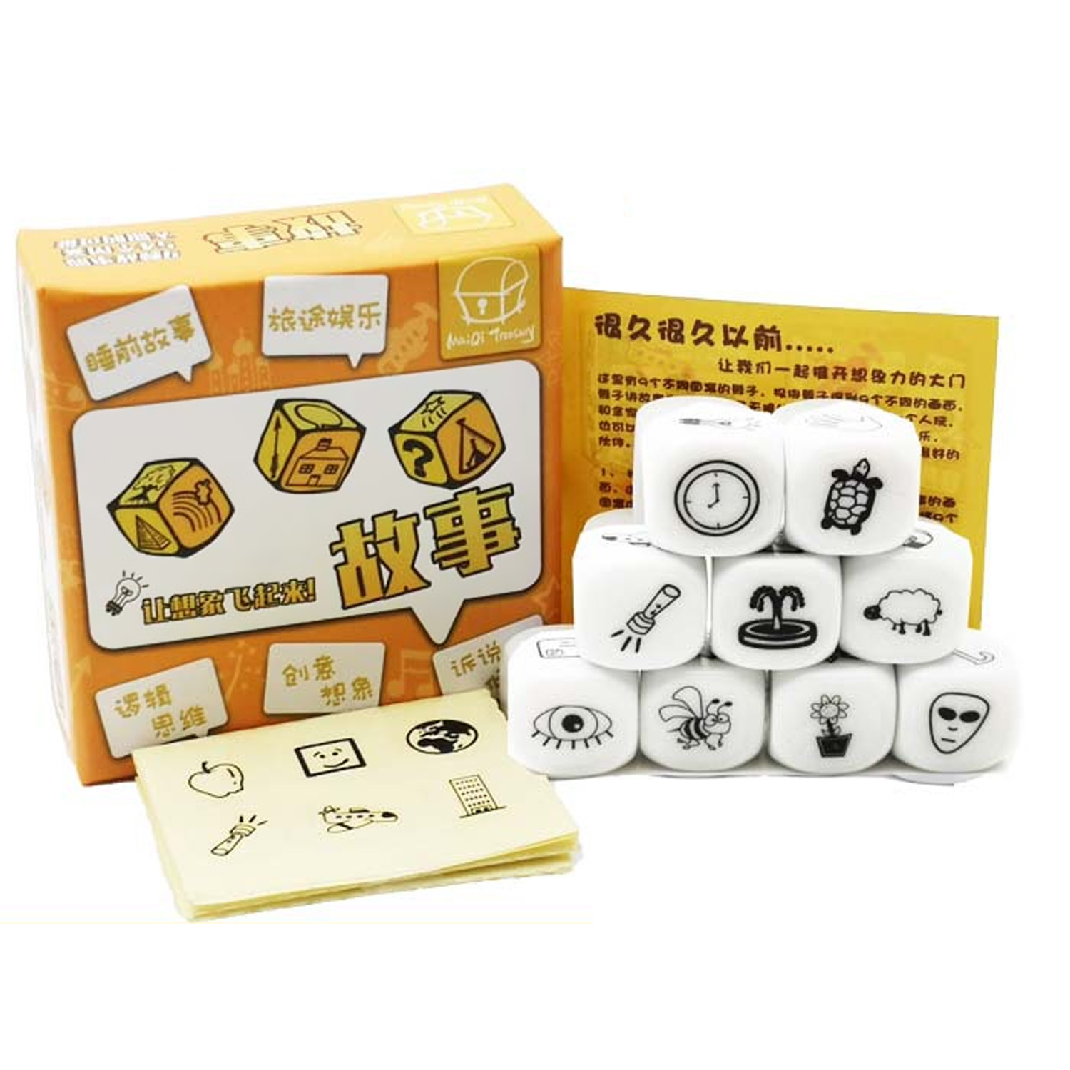 9pcs Cubes 54pcs Images Game Puzzle Telling Story Dice Toy For Children DIY Toddlers Storytelling Game Imaginative Play Supplies