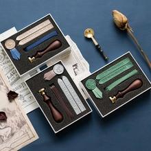 1 Set Creative Lacquer Wax Seal Stamps DIY Envelope Wedding Gift Sealing Ribbon Stamp Label