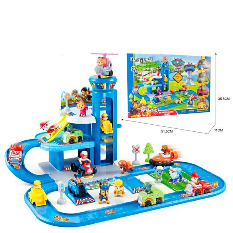 Paw Patrol Toy Assembled Rail Car Puppy Movable Doll Toy Set Patrulla Canina JuguetesPVC Material Children's Gift Toy