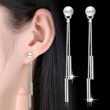 A Pair 6cm Sterling Bright Simple Long Tassel Drop Earrings for Women Engagement Jewelry Silver(China)