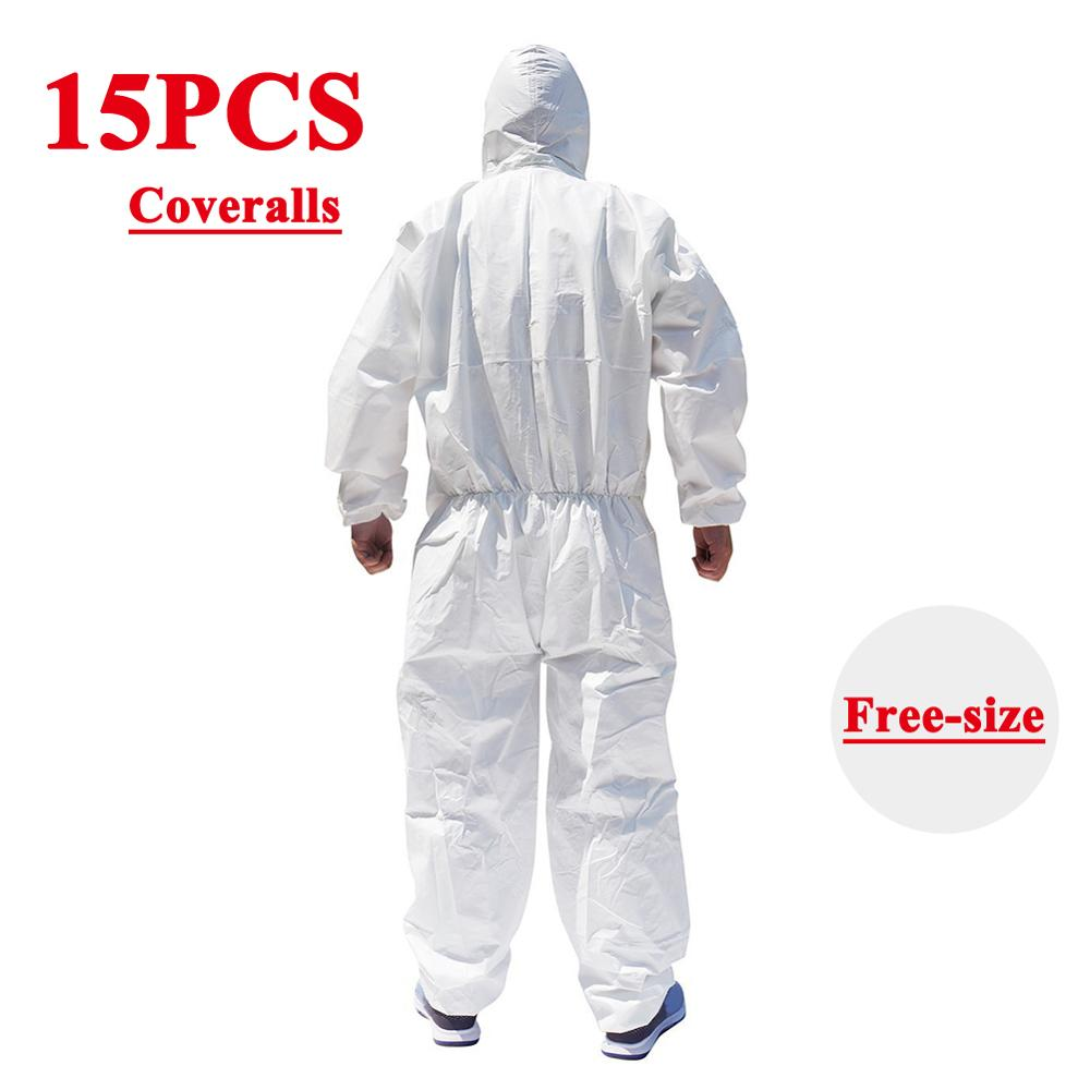 15PCS Disposable Hoodies Jumpsuit Coverall Gown Dust-proof Isolation Clothes Labour PPE Suit Security Protection Hooded Clothing