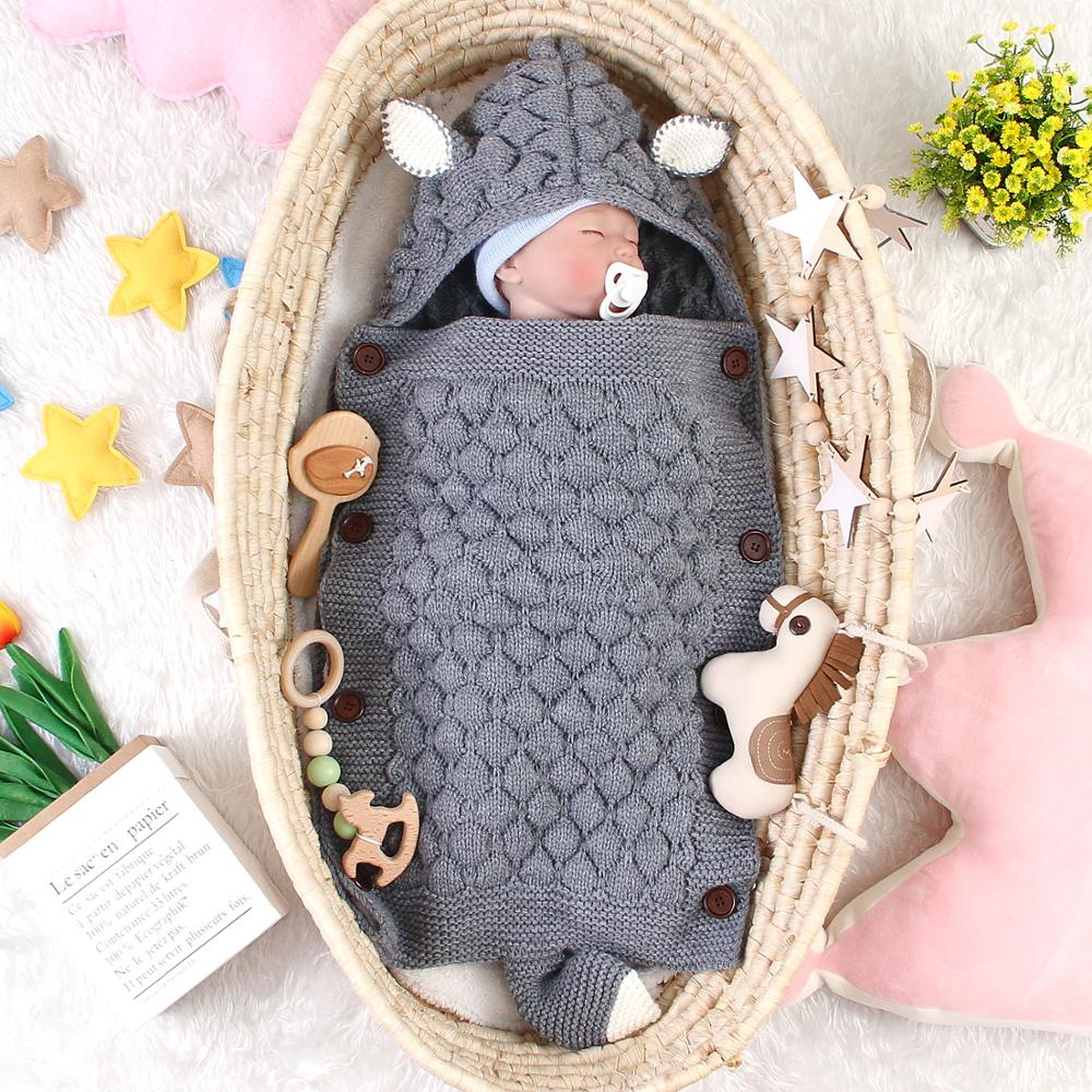 Cartoon Fox Envelopes For Newborn Stroller Sleeping Bags Autumn Knitted Infantil Bebes Swaddle Sleepsacks Baby Discharge Cocoon