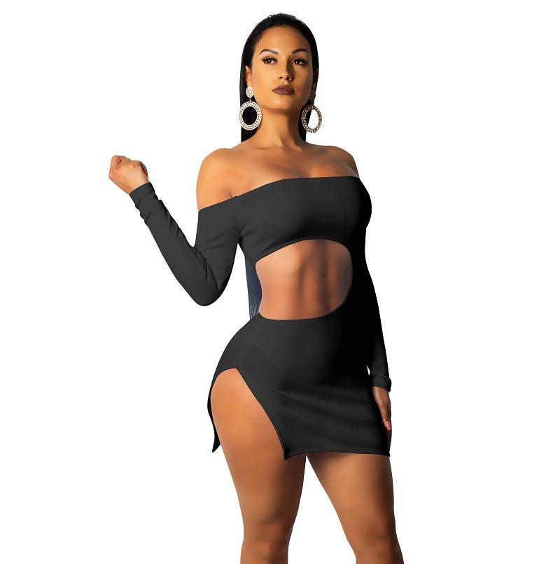 2019 Summer Autumn New Style Sexy Hollow Out Long Sleeve Navel High-waisted Slit-Irregular Skirt