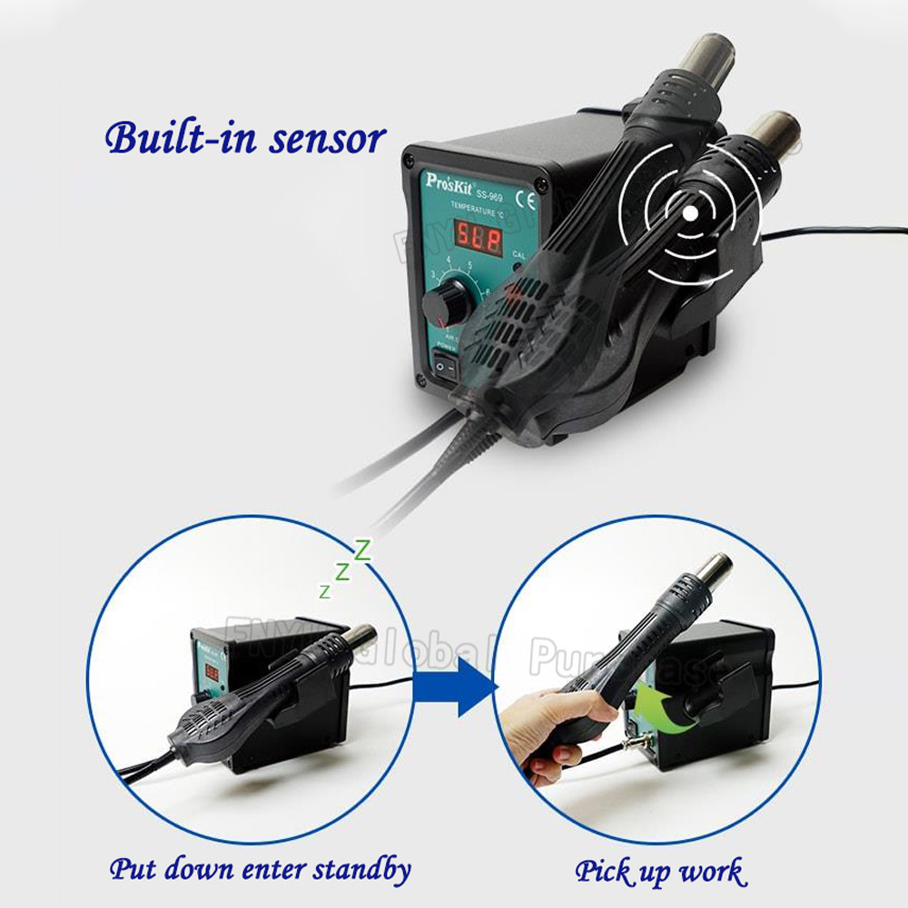 Tools : Pro        skit SS-969H Soft Wind SMD Digital Display LED Desoldering Station 700W Low Noise Hot Air Gun Electric Soldering Iron